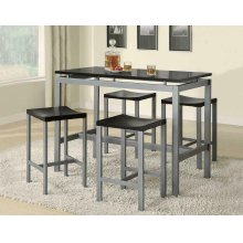 Casual Black and Silver Metal Five Piece Dining Set
