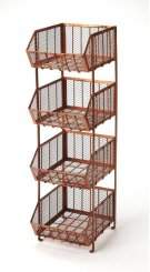 You will be organized in style with this copper colored storage rack. The rack features 4 wire mesh bins, to make it easy to see what is inside. Store fruits and vegetables in your kitchen, or towels and toiletries in your bath, keep winter outerwear i Product Image