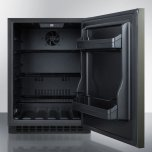 Summit Built-in Undercounter ADA Compliant All-refrigerator With Black Stainless Steel Door, Horizontal Handle, Black Cabinet, Door Storage, and Digital Controls