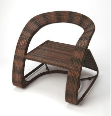 Wrap youself in texture and tones with this outdoor or indoor accent lounging chair. The unique design of soft lines and angles, cascading is yours to let your eyes enjoy. The comfortable design is crafted in a tone on tone, dramatic weave of PE plastic