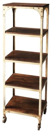Add industrial ambiance to your space with this spacious and functional etagere. Forged from iron with aged solid mango wood shelves, it is great for storing books, CDs and movies as well as displaying photos and home accents. Product Image