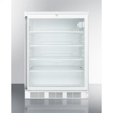 Commercially Listed Freestanding Glass Door All-refrigerator With White Cabinet, Lock, and Full-length Stainless Steel Handle