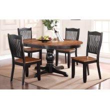 """66"""" Pedestal Table w/ 18"""" Leaf w/ 4 Chairs"""