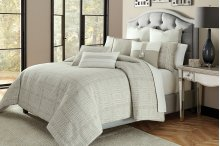 9 Pc Queen Comforter Set Gray