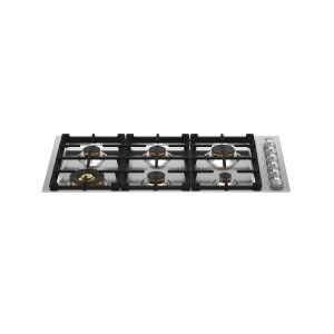 Bertazzoni36 Drop-in Gas Cooktop 6 brass burners Stainless Steel