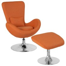 Orange Fabric Side Reception Chair with Ottoman