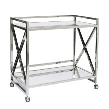 """Stainless """"x"""" Bar Cart With Two Mirrored Tops."""