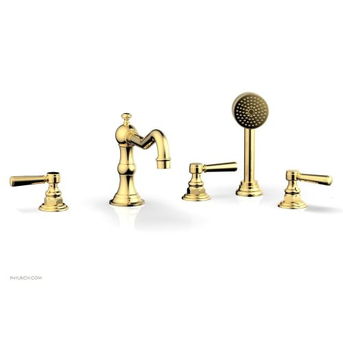 HENRI Deck Tub Set with Hand Shower with Lever Handles 161-49 - Polished Gold