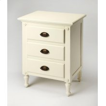 This gracious white nightstand is proof positive that good things come in small packages. Featuring three fully-extendable drawers with antique brass finished hardware, it is crafted from mahogany wood solids, wood products and choice mahogany veneer. Per