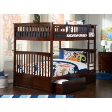 Columbia Bunk Bed Full over Full with Urban Bed Drawers in Walnut