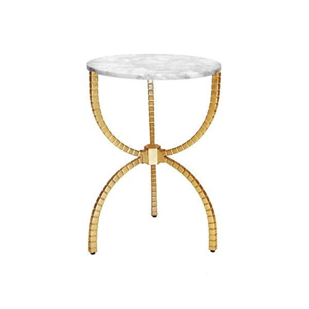 Hammered Base Side Table With White Marble Top In Gold Leaf