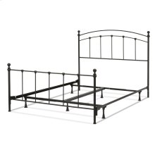 Sanford Complete Metal Bed and Steel Support Frame with Castings and Round Finial Posts, Matte Black Finish, Queen