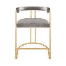 Barrel Back Gold Leaf Base Counter Stool In Grey Velvet