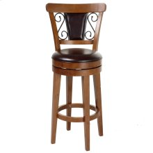Trenton Swivel Seat Counter Stool with Nutmeg Finished Wood Frame, Ember Seatback Accents and Brown Faux Leather Upholstery, 26-Inch Seat Height