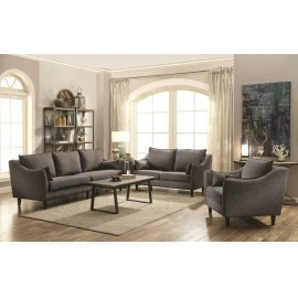 Rhys Modern Charcoal Three-piece Living Room Set