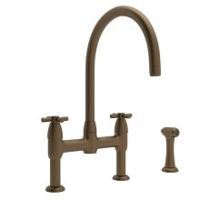 English Bronze Perrin & Rowe Holborn Bridge Kitchen Faucet With Sidespray with Contemporary Cross Handle
