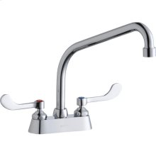"""Elkay 4"""" Centerset with Exposed Deck Faucet with 10"""" High Arc Spout 4"""" Wristblade Handles Chrome"""