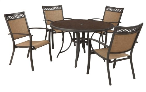 5-PC Patio Set - Round Dining Table & 4 Chairs