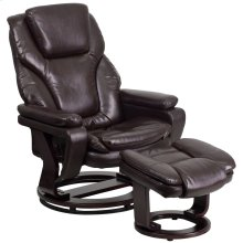 Contemporary Brown Leather Recliner and Ottoman with Swiveling Mahogany Wood Base