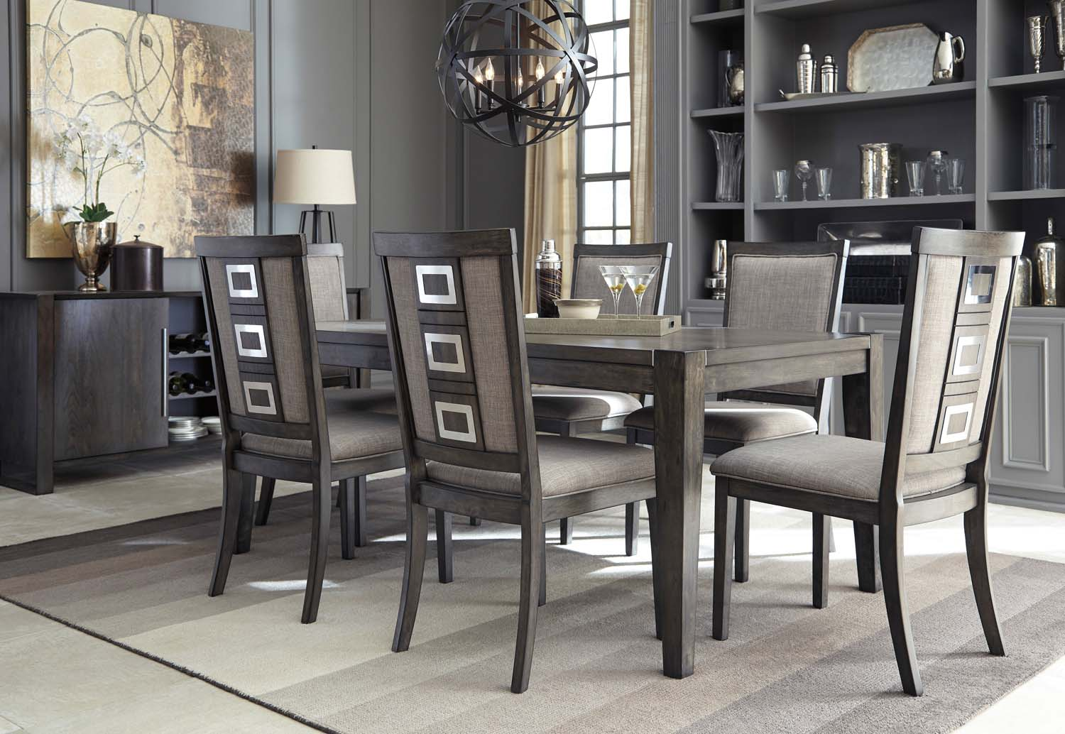 Chadoni   Gray 7 Piece Dining Room Set