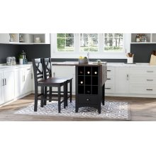 Asbury Park Counter Drop Leaf Table W/4 X Back Stools - Black/autumn