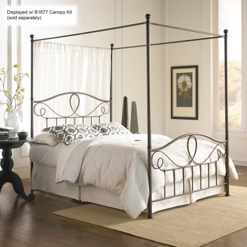 Sylvania Complete Bed with Metal Curved Grill Design and Canopy Compatibility, French Roast Finish, King