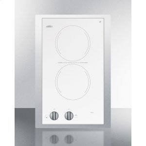 """Summit115v European Two-burner Radiant Cooktop In White Glass With Stainless Steel Frame To Allow Installation In 15"""" Wide Counter Cutouts"""