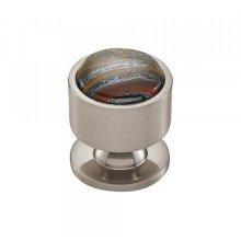 Firesky Iron Tiger Eye Knob 1 1/8 Inch Brushed Satin Nickel