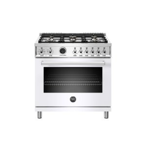 Bertazzoni36 inch Dual Fuel Range, 6 Brass Burner, Electric Self-Clean Oven Bianco