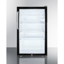 """Commercially Listed ADA Compliant 20"""" Wide Glass Door All-refrigerator for Built-in Use, Auto Defrost With A Lock and Stainless Steel Cabinet"""