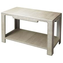 The clean lines, the luster of rich leather, and the multitude of shimmering silver finished nailheads all come together ensure this impeccably crafted Console Table will be a splendid addition to an already well-furnished room. Expertly crafted from wood