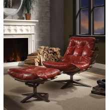 RED 2PC PK CHAIR & OTTOMAN