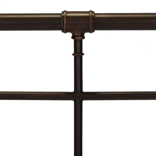 Everett Metal Headboard and Footboard Bed Panels with Industrial Pipe Design, Brushed Copper Finish, California King