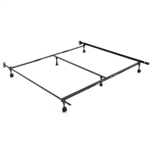 Deluxe Promotional Adjustable Bed Frame TK52R with Fixed Headboard Brackets and Locking Rug Rollers, Twin - King
