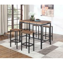 Contemporary Chestnut Five-piece Bar Set