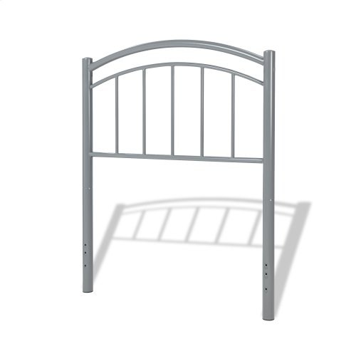 Rylan Fashion Kids Metal Headboard Panel with Gently Arced Top Rail and Vertical Spindles, Shadow Gray Finish, Full