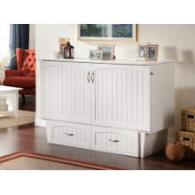 Nantucket Queen Murphy Bed Chest in White with Charging Station
