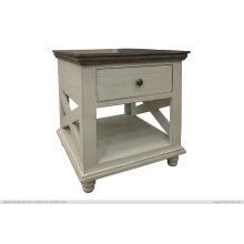 1 Drawer, End Table, Ivory finish