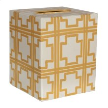 Kleenex Box Cream W. Yellow SQUARES.