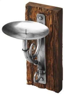 This heirloom-inspired Candle Sconce is crafted from heavily distressed, recycled wood and antiqued wrought iron.