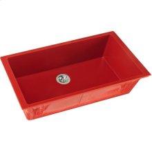 "Elkay Quartz Luxe 35-7/8"" x 19"" x 9"" Single Bowl Undermount Kitchen Sink with Perfect Drain, Maraschino"