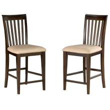 Mission Pub Chairs Set of 2 with Oatmeal Cushion in Walnut