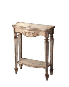 Attention to detail gives this Console Table genuine distinction: the carved legs tapering down into ballerina feet... the way the front legs are turned 45 degrees from those on the back row... the beautifully hand-painted front apron and tabletop... a