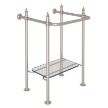 Satin Nickel Finished Brass Wash Stand With Glass Shelf