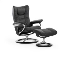 Stressless Wing Medium Signature Base Chair and Ottoman