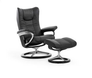 Stressless Wing Small Signature Base Chair and Ottoman