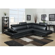 Metairie Black Bonded Leather Sectional