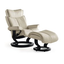 Stressless Magic Medium Classic Base Chair and Ottoman