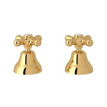 "Italian Brass Verona Deck Mount Set of Hot & Cold 1/2"" Sidevalves with Cross Handles"