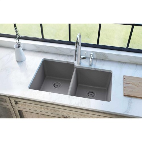 "Elkay Quartz Classic 33"" x 20-1/2"" x 9-1/2"", Offset Double Bowl Undermount Sink, Greystone"
